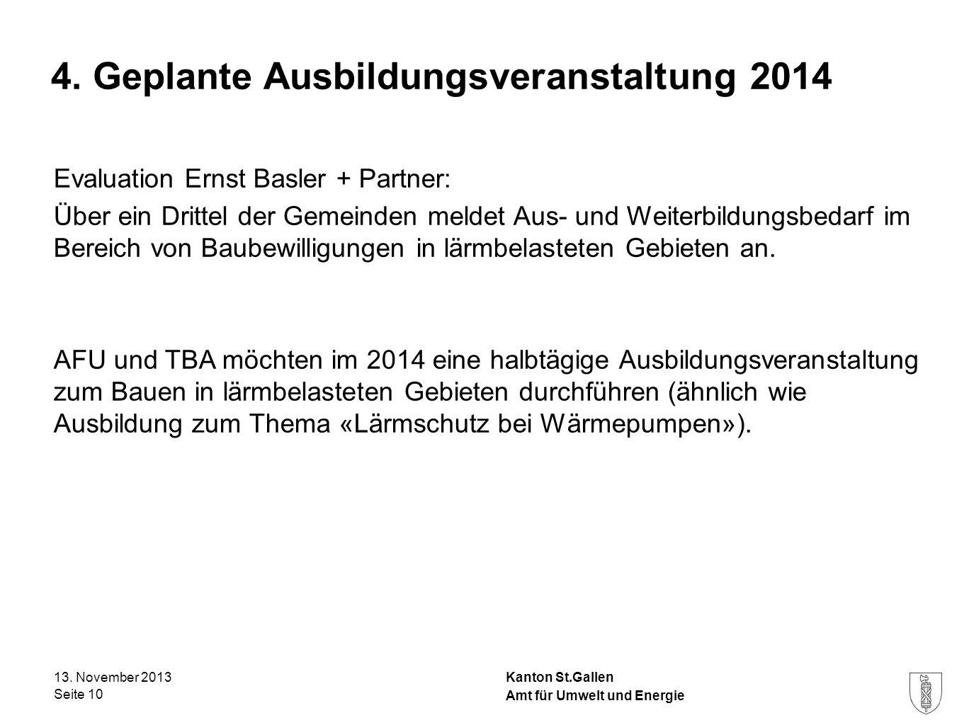 4. Geplante Ausbildungsveranstaltung 2014