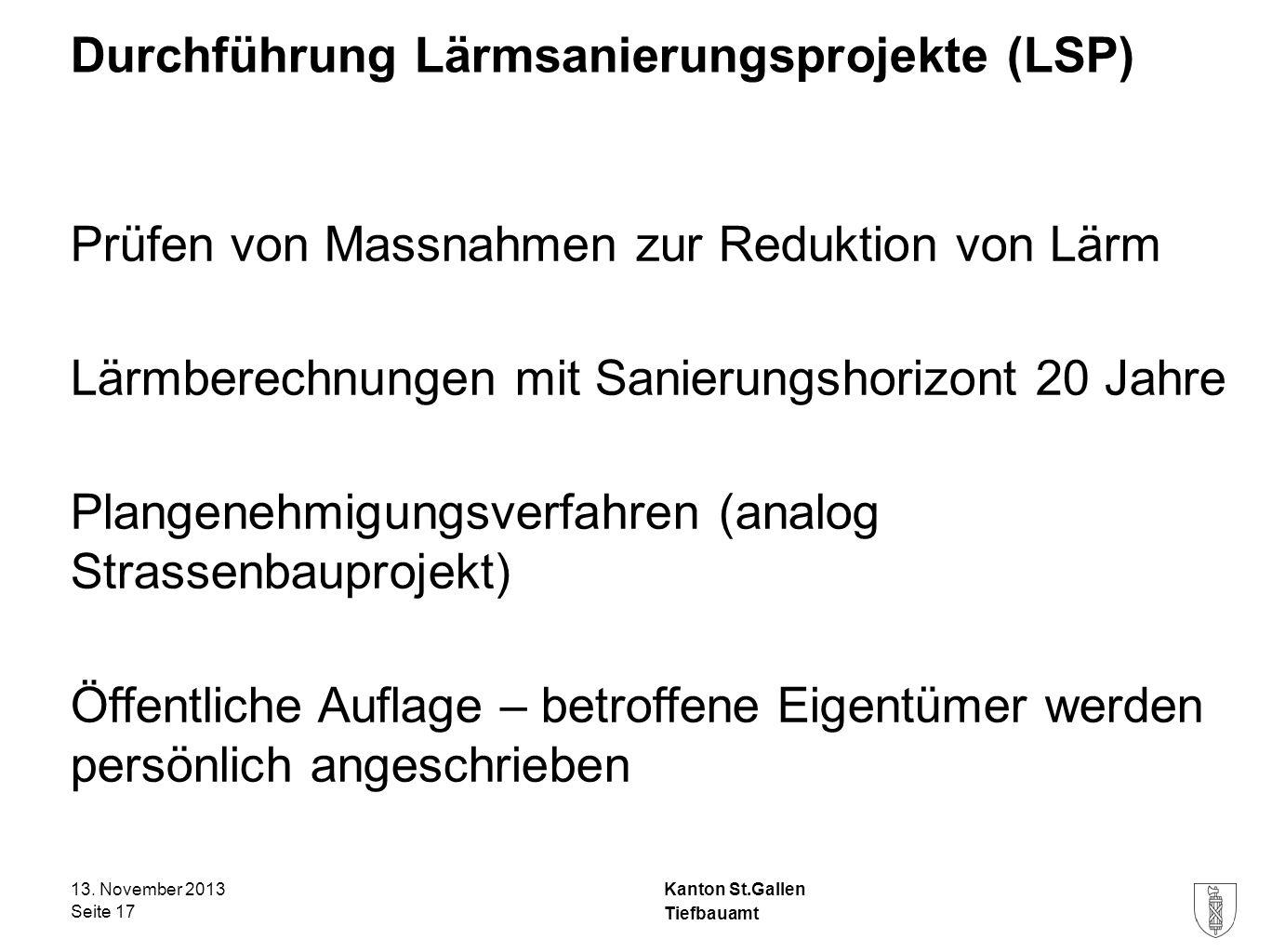 Durchführung Lärmsanierungsprojekte (LSP)