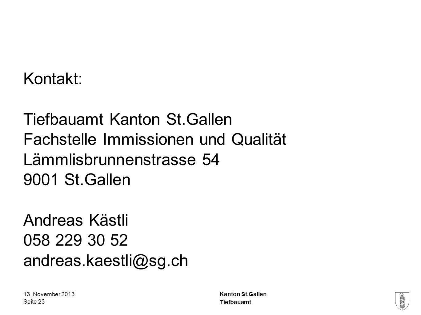 Tiefbauamt Kanton St.Gallen Fachstelle Immissionen und Qualität