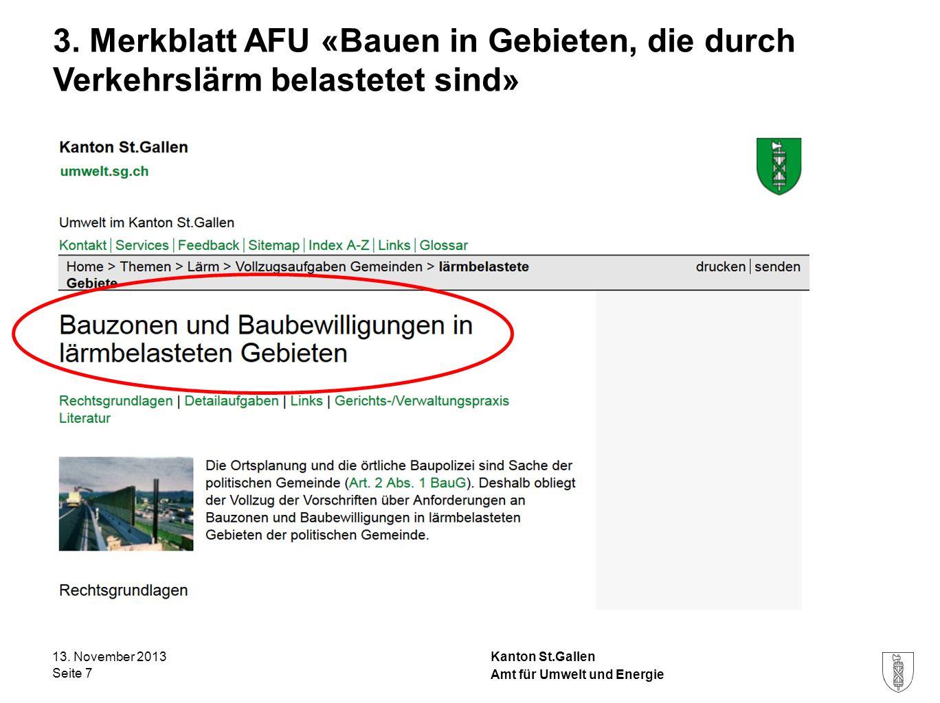 3. Merkblatt AFU «Bauen in Gebieten, die durch Verkehrslärm belastetet sind»