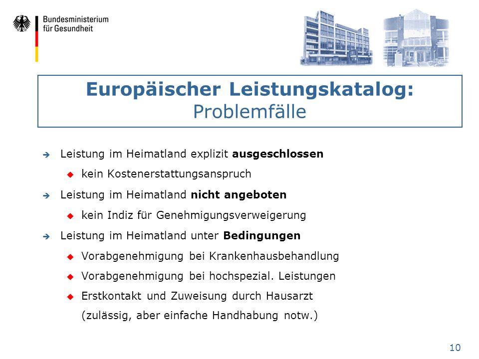 Europäischer Leistungskatalog: Problemfälle