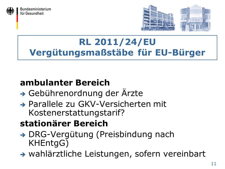 RL 2011/24/EU Vergütungsmaßstäbe für EU-Bürger