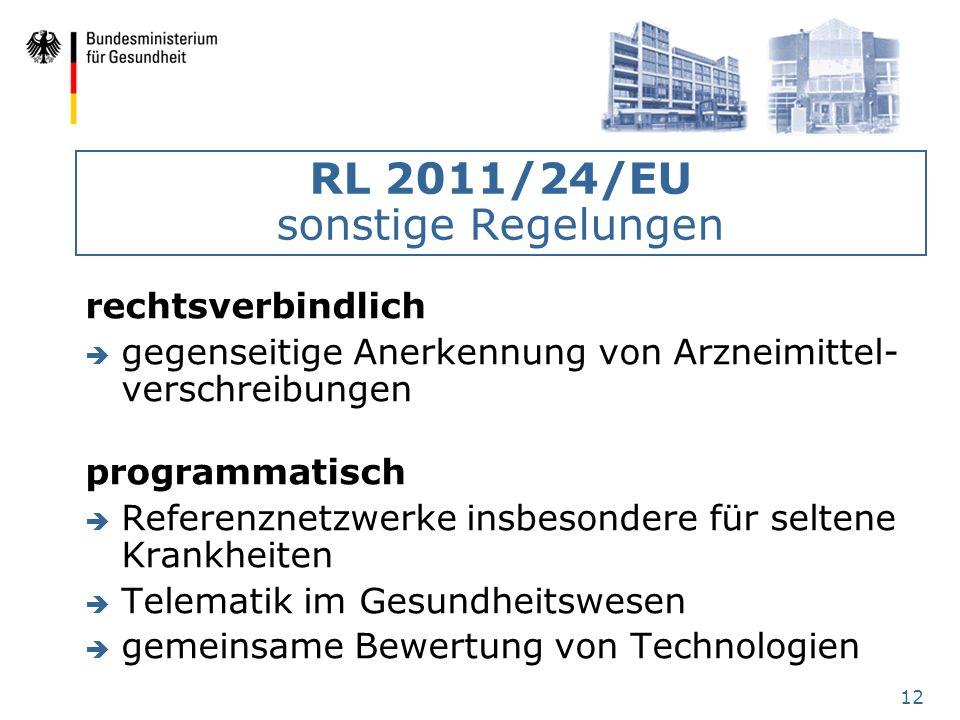 RL 2011/24/EU sonstige Regelungen
