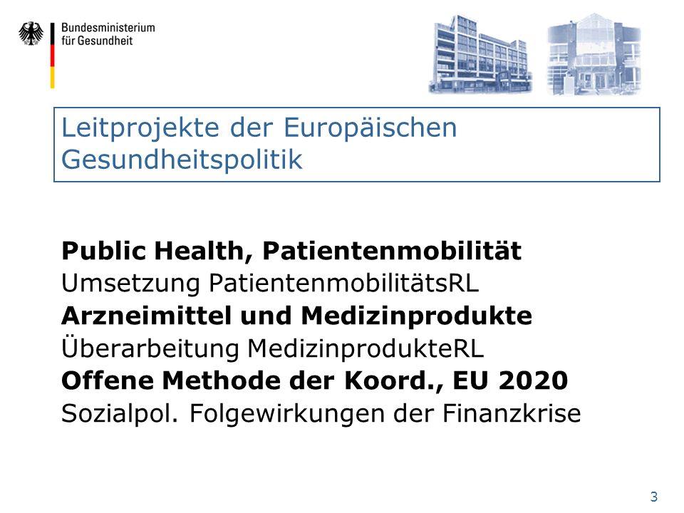 Leitprojekte der Europäischen Gesundheitspolitik