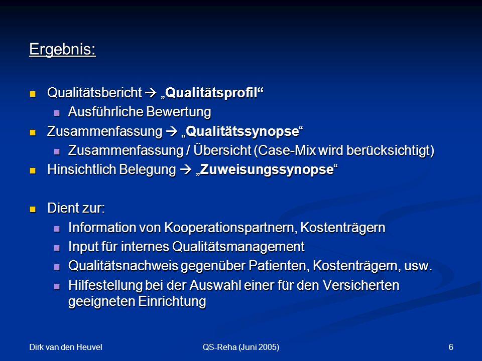 """Ergebnis: Qualitätsbericht  """"Qualitätsprofil Ausführliche Bewertung"""