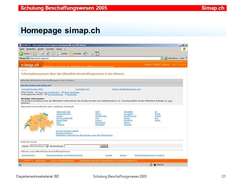 Simap.ch Homepage simap.ch