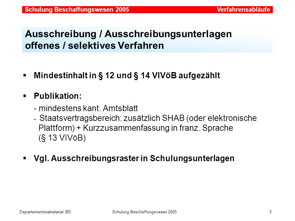 Verfahrensabläufe Ausschreibung / Ausschreibungsunterlagen offenes / selektives Verfahren. Mindestinhalt in § 12 und § 14 VIVöB aufgezählt.