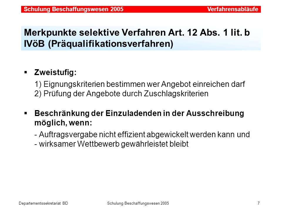 Verfahrensabläufe Merkpunkte selektive Verfahren Art. 12 Abs. 1 lit. b IVöB (Präqualifikationsverfahren)