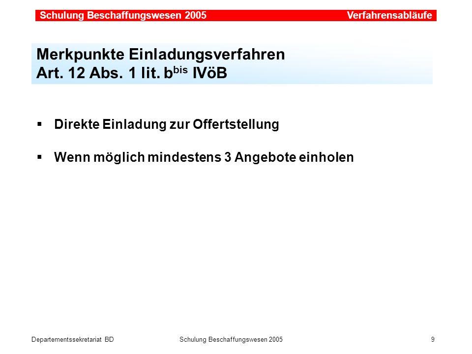 Merkpunkte Einladungsverfahren Art. 12 Abs. 1 lit. bbis IVöB