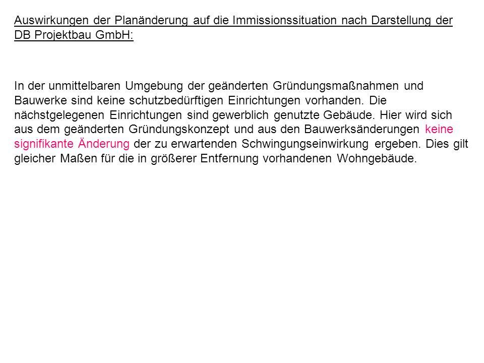 Auswirkungen der Planänderung auf die Immissionssituation nach Darstellung der DB Projektbau GmbH: