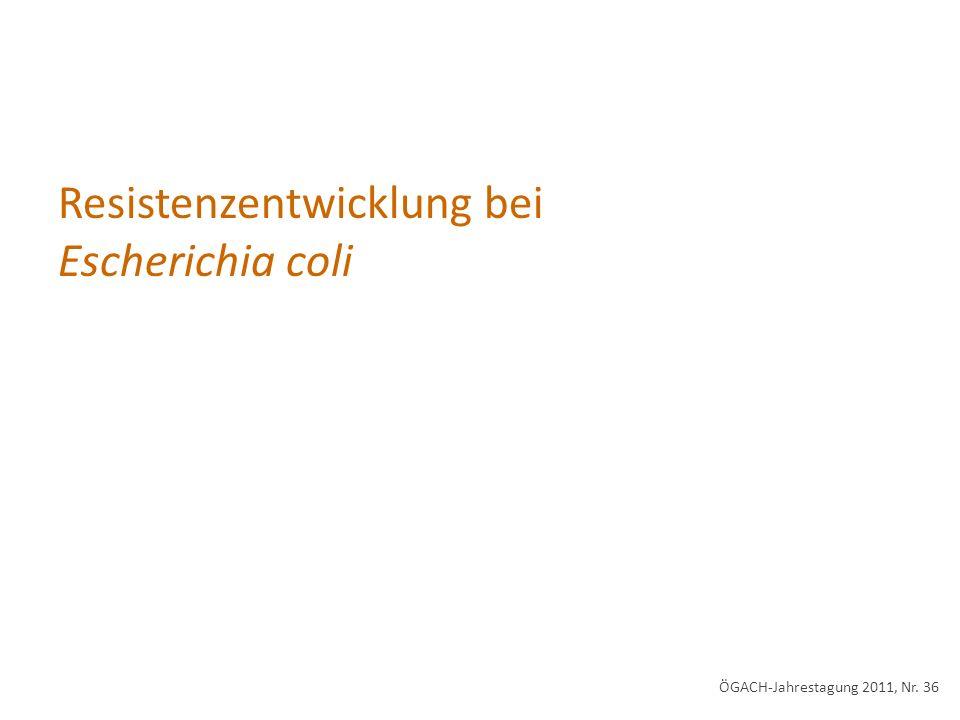 Resistenzentwicklung bei Escherichia coli
