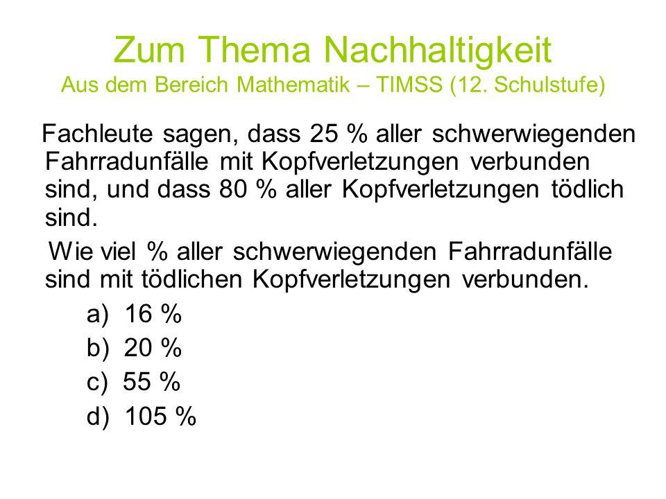 Zum Thema Nachhaltigkeit Aus dem Bereich Mathematik – TIMSS (12