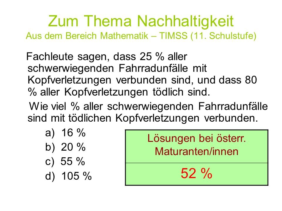 Lösungen bei österr. Maturanten/innen