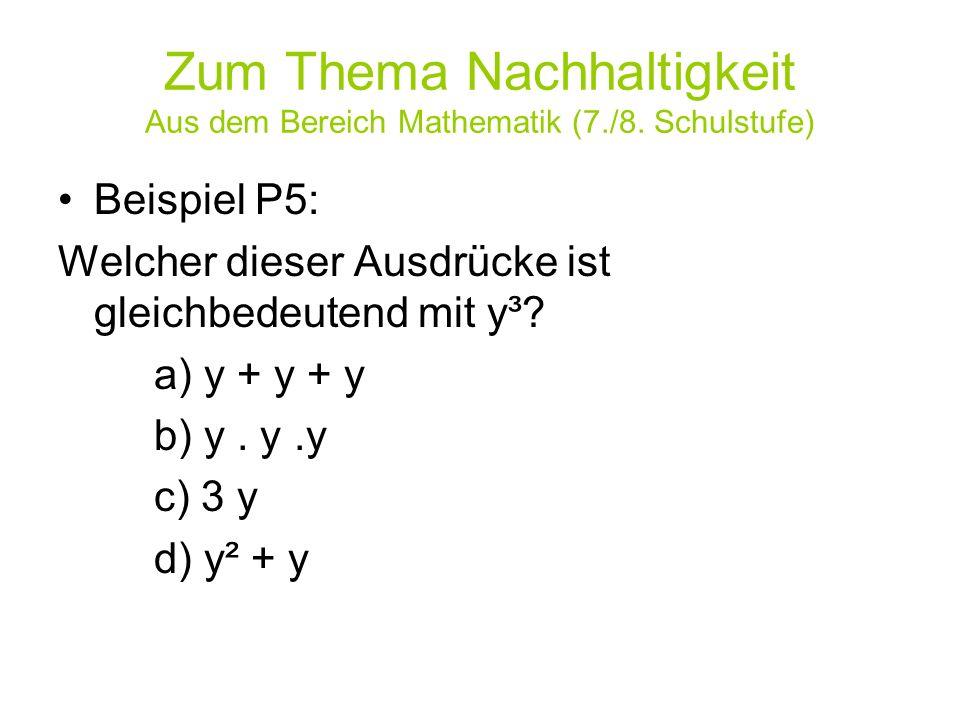Zum Thema Nachhaltigkeit Aus dem Bereich Mathematik (7./8. Schulstufe)