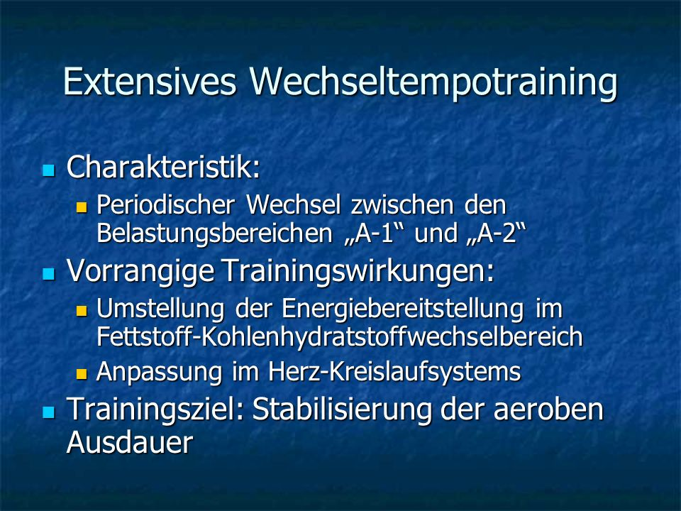 Extensives Wechseltempotraining