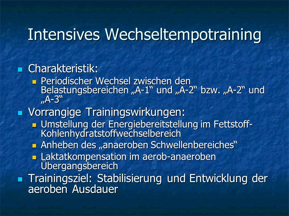 Intensives Wechseltempotraining