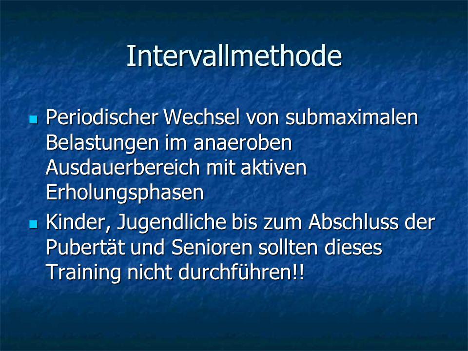 Intervallmethode Periodischer Wechsel von submaximalen Belastungen im anaeroben Ausdauerbereich mit aktiven Erholungsphasen.