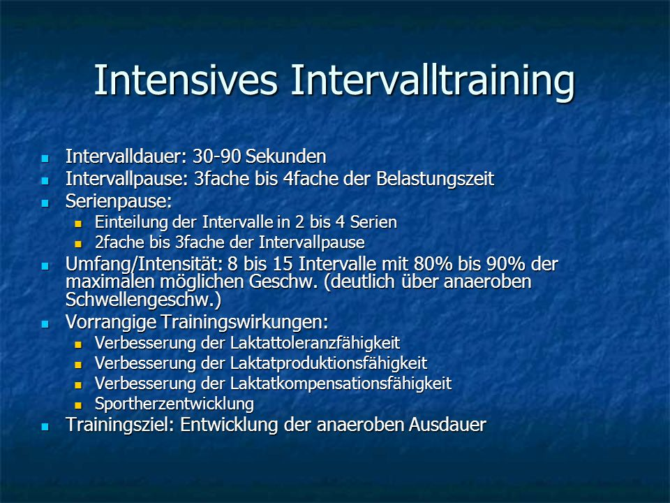 Intensives Intervalltraining