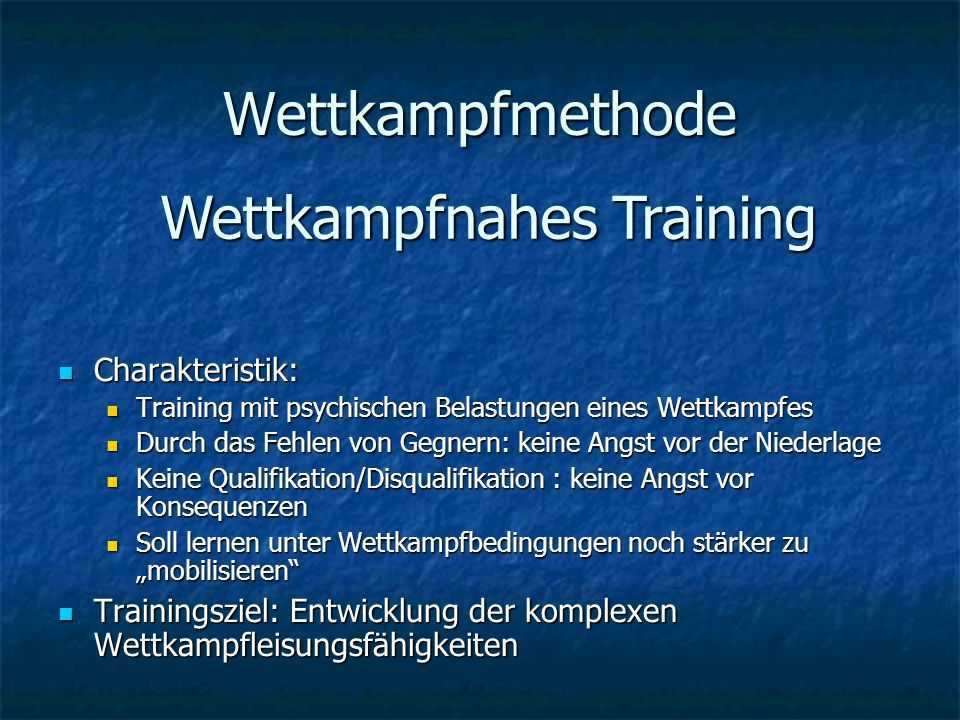 Wettkampfnahes Training