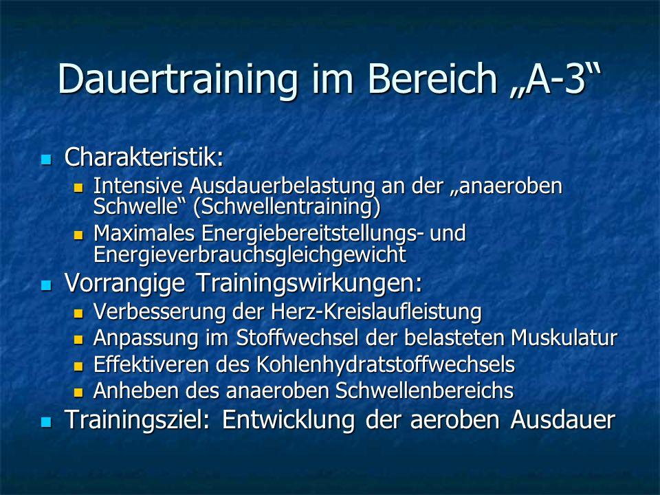 "Dauertraining im Bereich ""A-3"