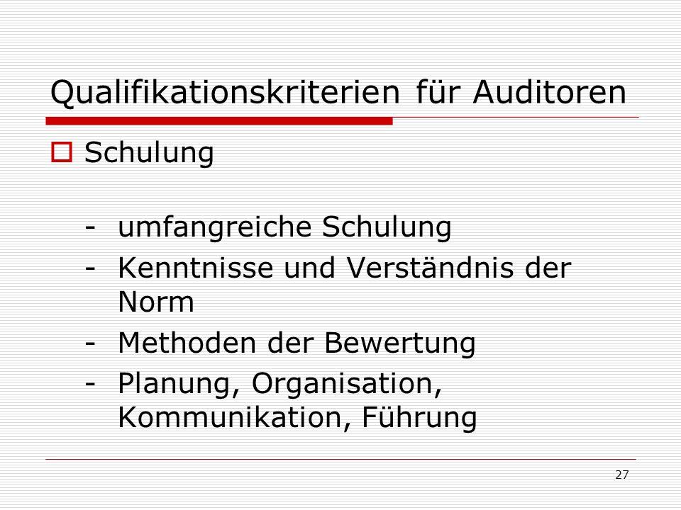 Qualifikationskriterien für Auditoren