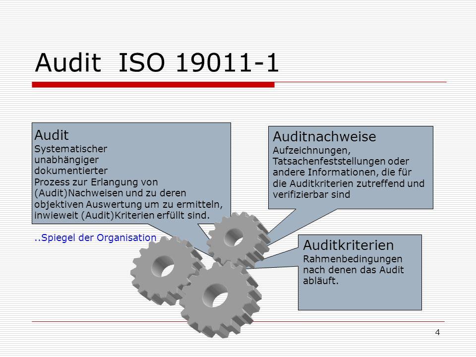 Audit ISO 19011-1 Audit Auditnachweise Auditkriterien Systematischer