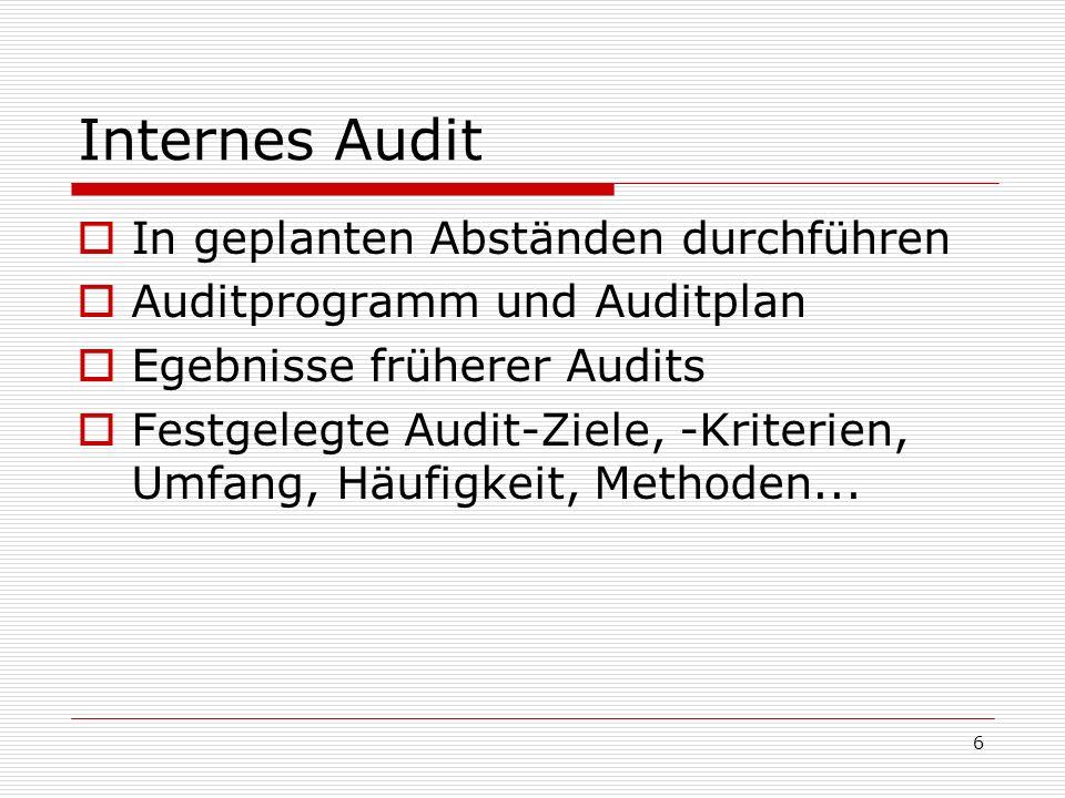 Internes Audit In geplanten Abständen durchführen
