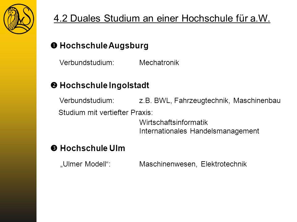 4.2 Duales Studium an einer Hochschule für a.W.