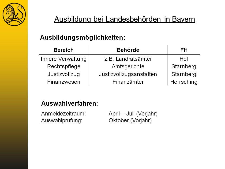 Ausbildung bei Landesbehörden in Bayern