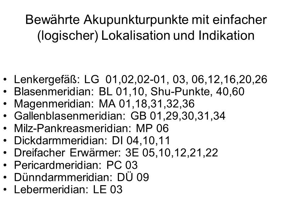 Bewährte Akupunkturpunkte mit einfacher (logischer) Lokalisation und Indikation