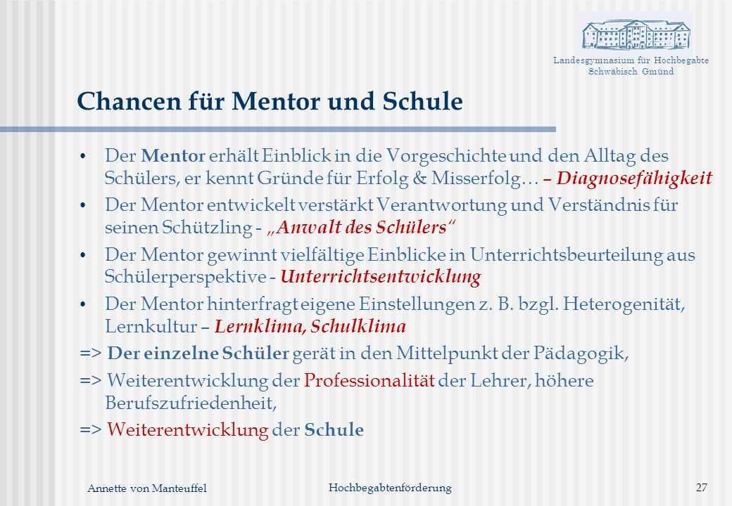 Chancen für Mentor und Schule
