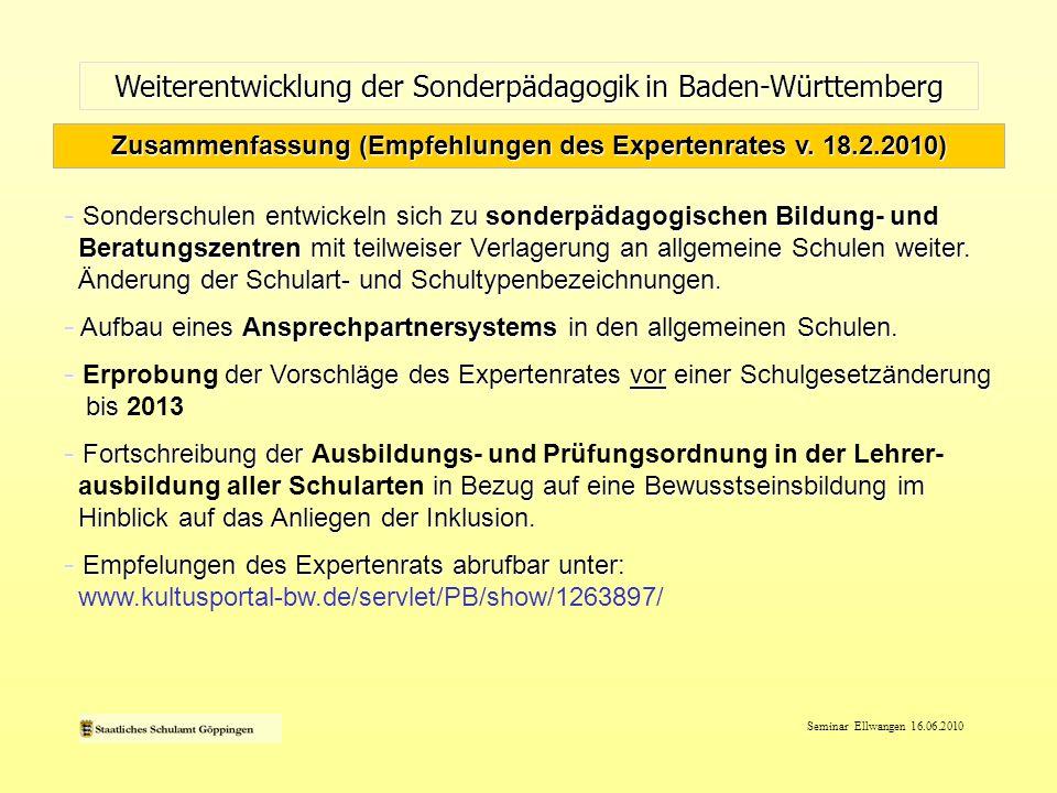 Zusammenfassung (Empfehlungen des Expertenrates v. 18.2.2010)