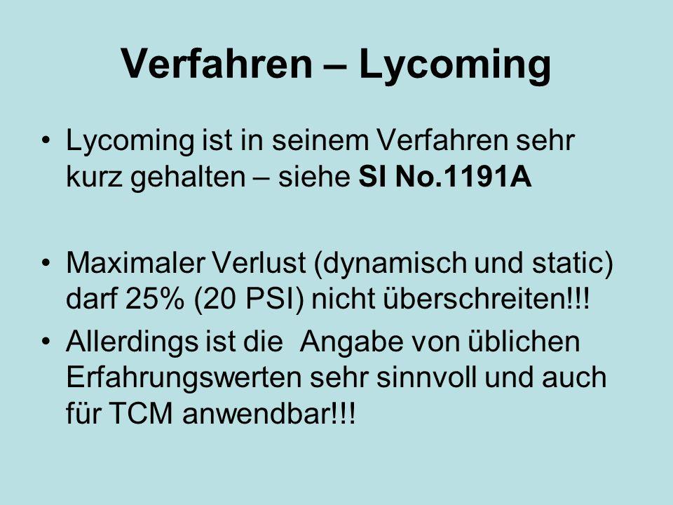 Verfahren – Lycoming Lycoming ist in seinem Verfahren sehr kurz gehalten – siehe SI No.1191A.