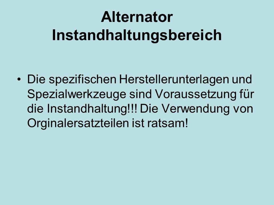Alternator Instandhaltungsbereich