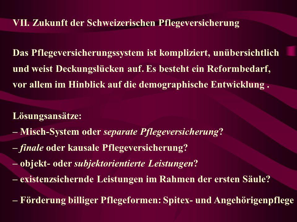 Zukunft der Schweizerischen Pflegeversicherung