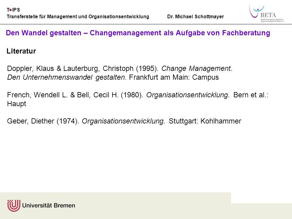 Den Wandel gestalten – Changemanagement als Aufgabe von Fachberatung