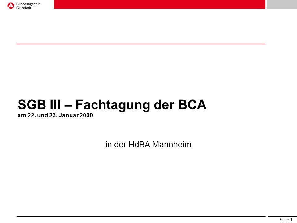 SGB III – Fachtagung der BCA am 22. und 23. Januar 2009
