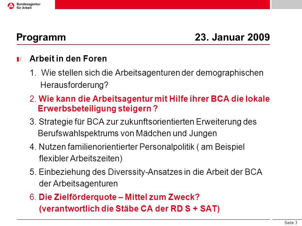 Programm 23. Januar 2009 Arbeit in den Foren