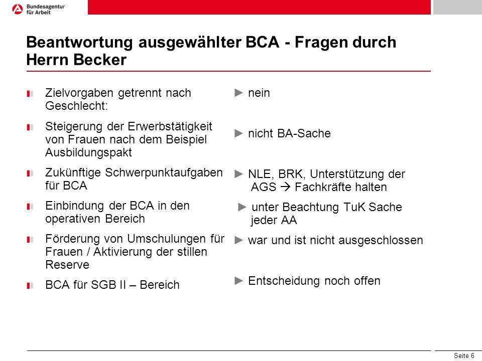 Beantwortung ausgewählter BCA - Fragen durch Herrn Becker