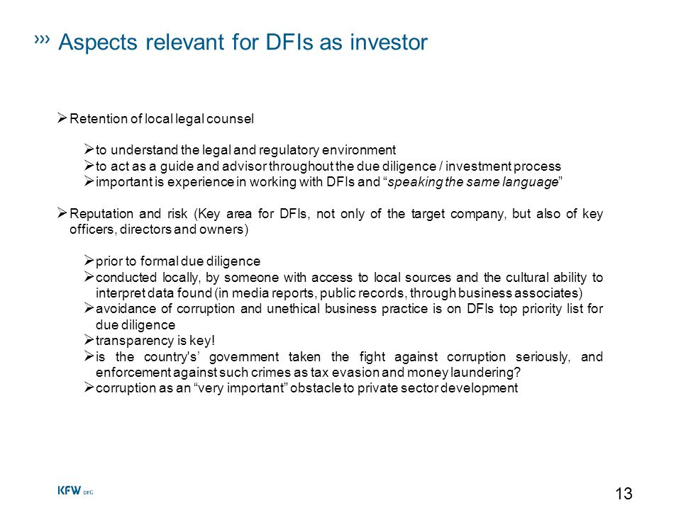 Aspects relevant for DFIs as investor