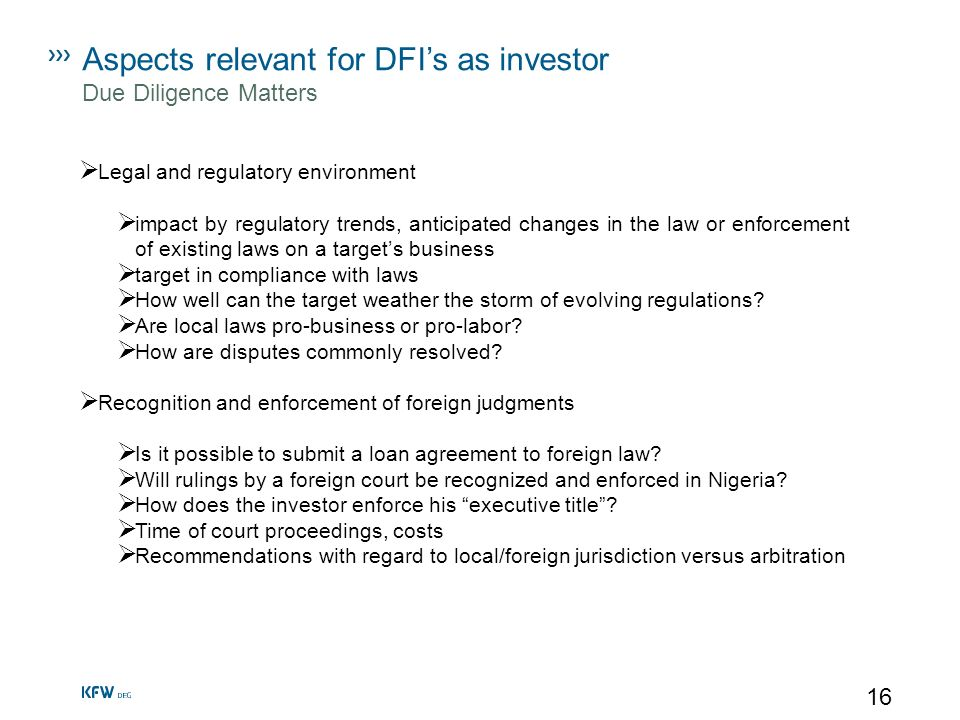 Aspects relevant for DFI's as investor