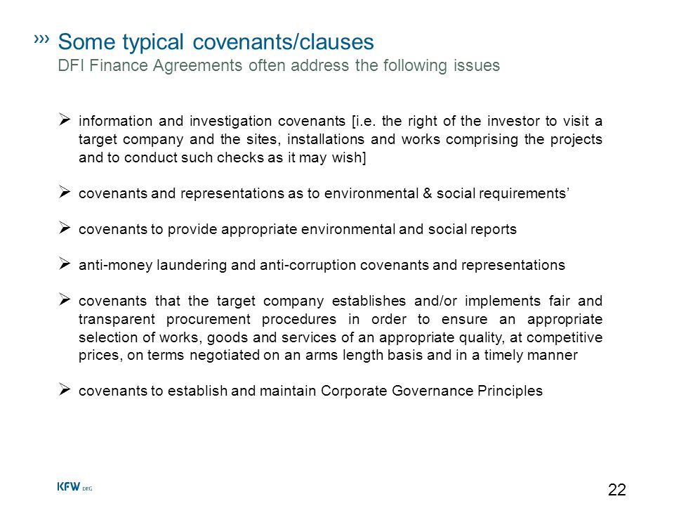 Some typical covenants/clauses