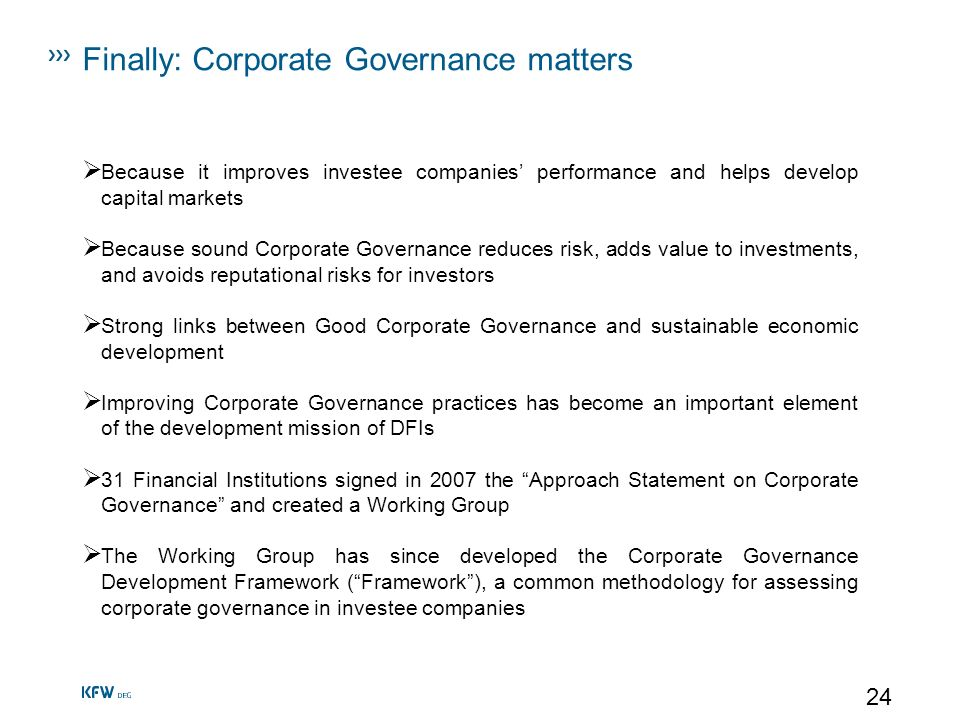 Finally: Corporate Governance matters