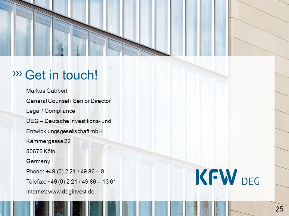 Get in touch! Markus Gabbert General Counsel / Senior Director