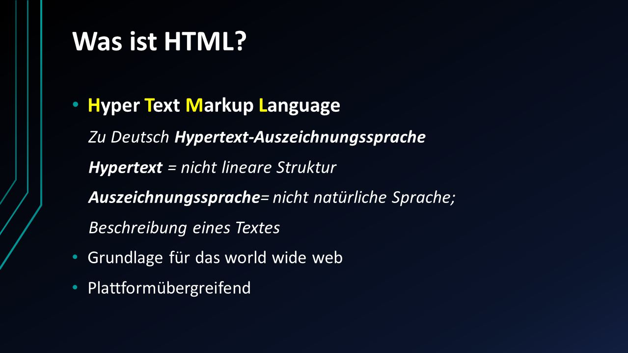 Was ist HTML Hyper Text Markup Language
