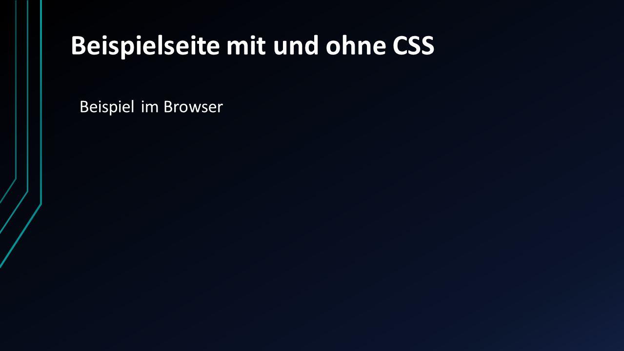Beispielseite mit und ohne CSS