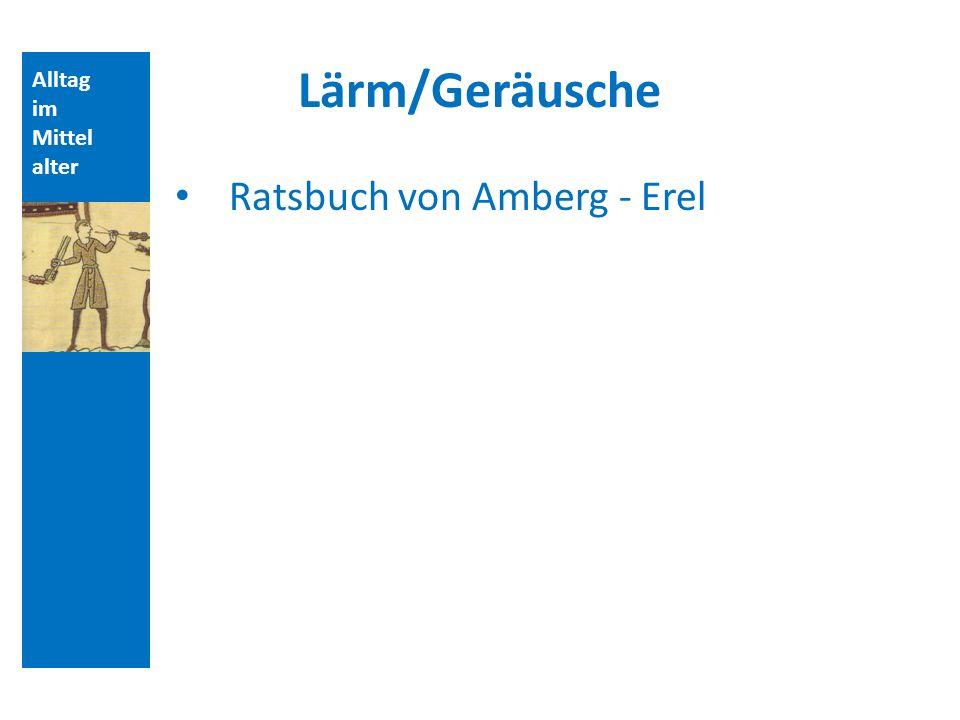 Lärm/Geräusche Ratsbuch von Amberg - Erel Alltag im Mittelalter
