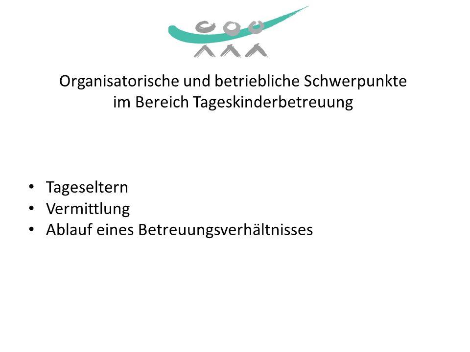 Organisatorische und betriebliche Schwerpunkte im Bereich Tageskinderbetreuung