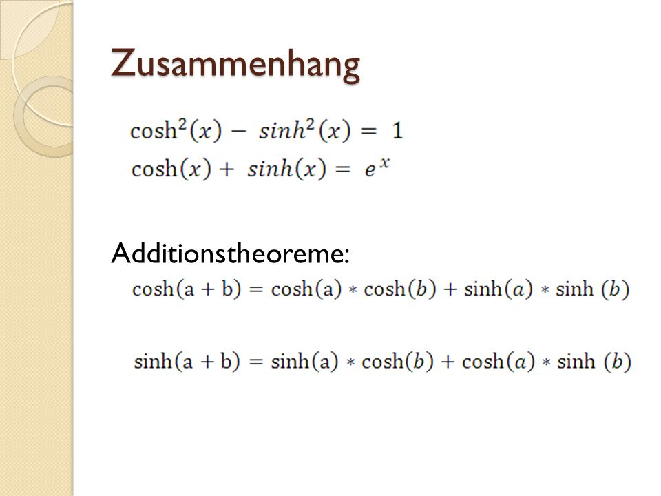 Zusammenhang Additionstheoreme: