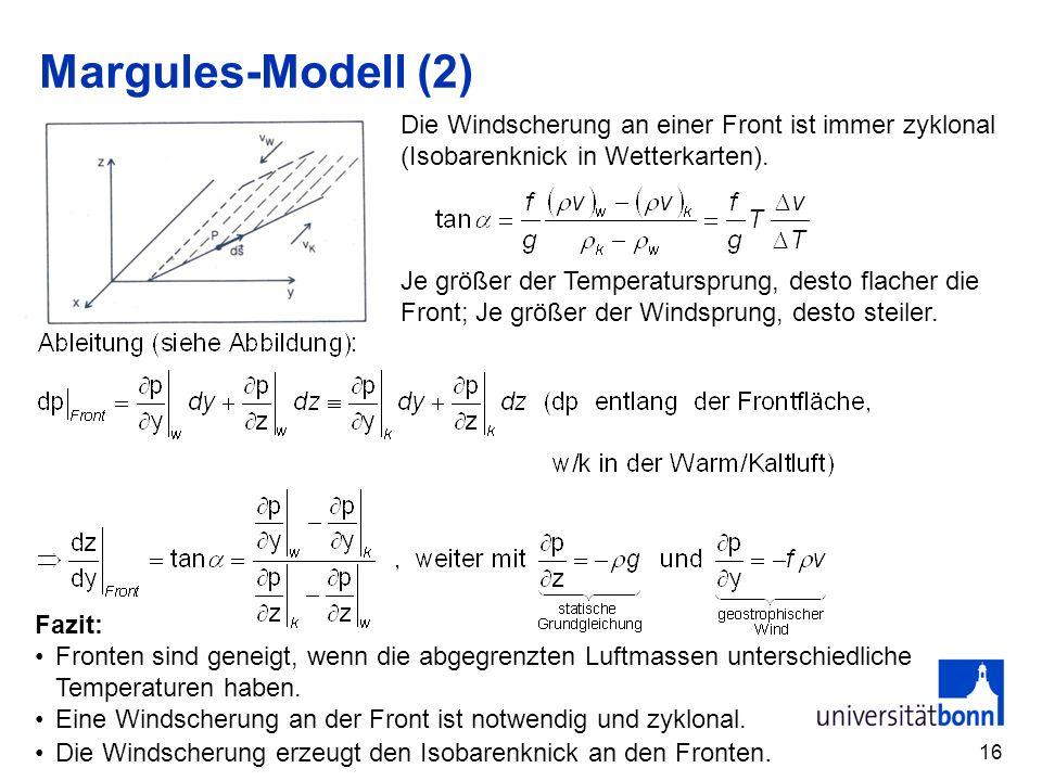 Margules-Modell (2) Die Windscherung an einer Front ist immer zyklonal (Isobarenknick in Wetterkarten).